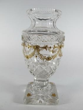 Baccarat style French glass & bronze urn