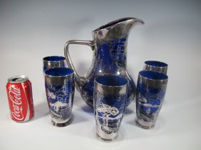 Set of 5 Glass and Pitcher with Silver Overlay