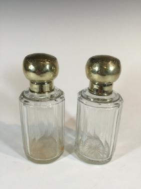 Antique German pair of silverplate & glass perfurm