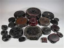 Antique set of 21 Chinese wood bases
