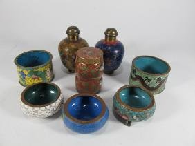 Chinese set of 8 cloisonne perfurm bottles & spices