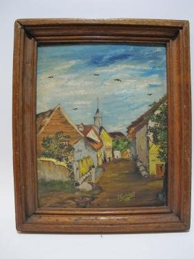 Vintage oil on canvas cityscape painting