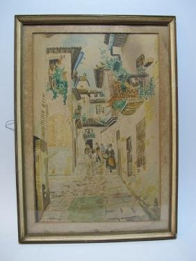 antique watercolor cityscape painting, dated 1944