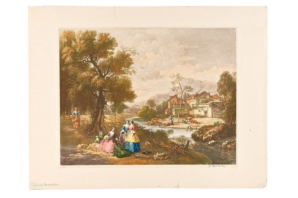 9: Colored English print 19th* Century, signed on the r
