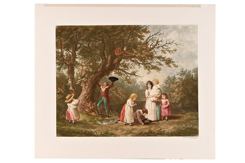 10: Colored English print 19th Century, signed on the r