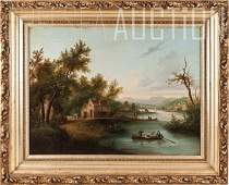 216: Old masters, landscape with figures, oil on canvas