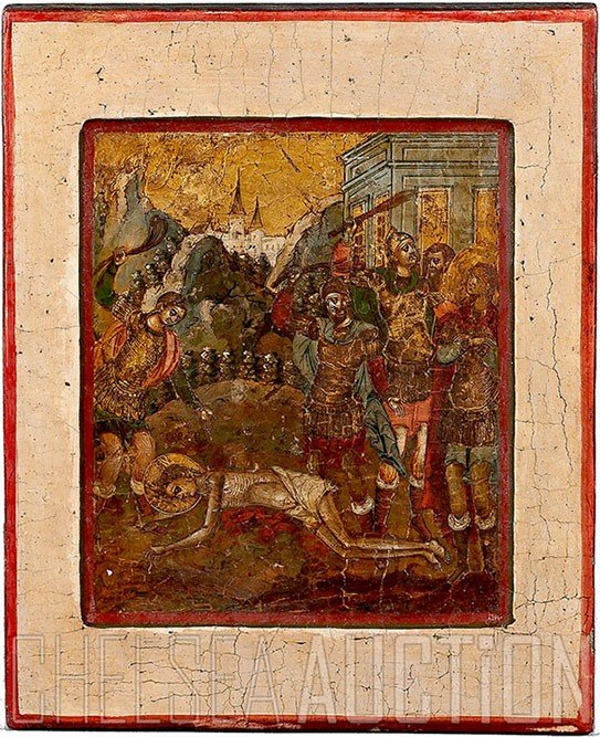 353: Russian icon,17th Century, Moscow, Kremlin workers