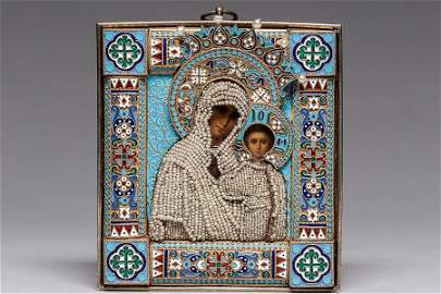 132:A RUSSIAN SILVER-GILT AND CLOISONN� ENAMEL ICON