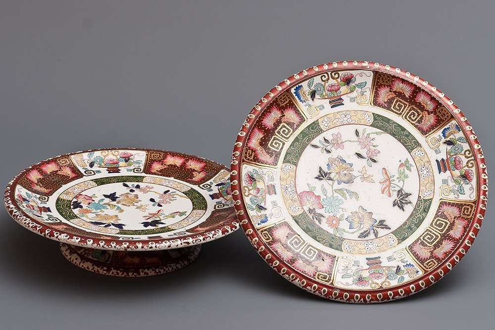 001: 19th C. English Porcelain Cake Stands