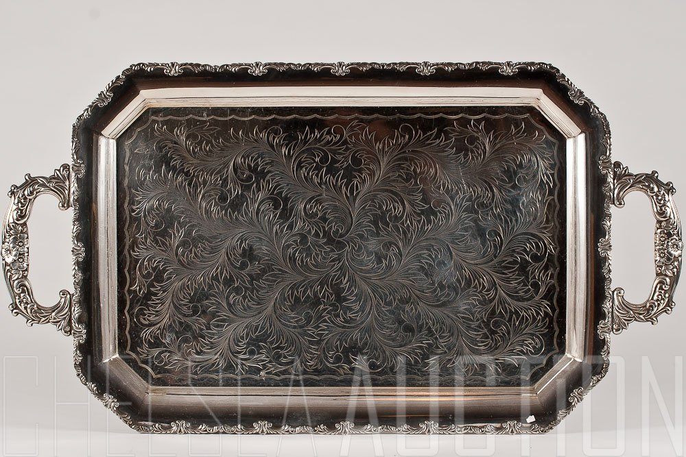 5: 19th C.  Silver Plated Tray
