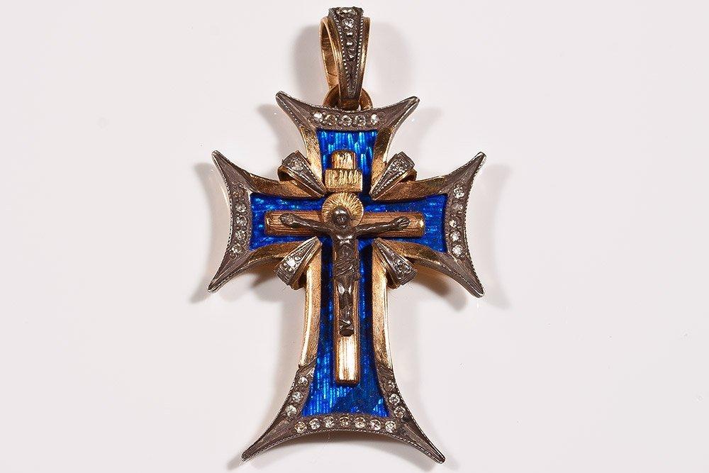 14: Russian Orthodox Gold Cross With Diamonds & Enamel