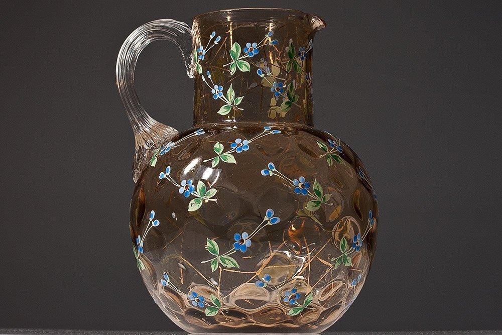 25: Moser Art Glass, Coin Dot Pitcher