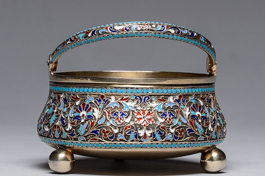 200: 19th C. Russian Silver Enamel Bowl Gustav Klingert