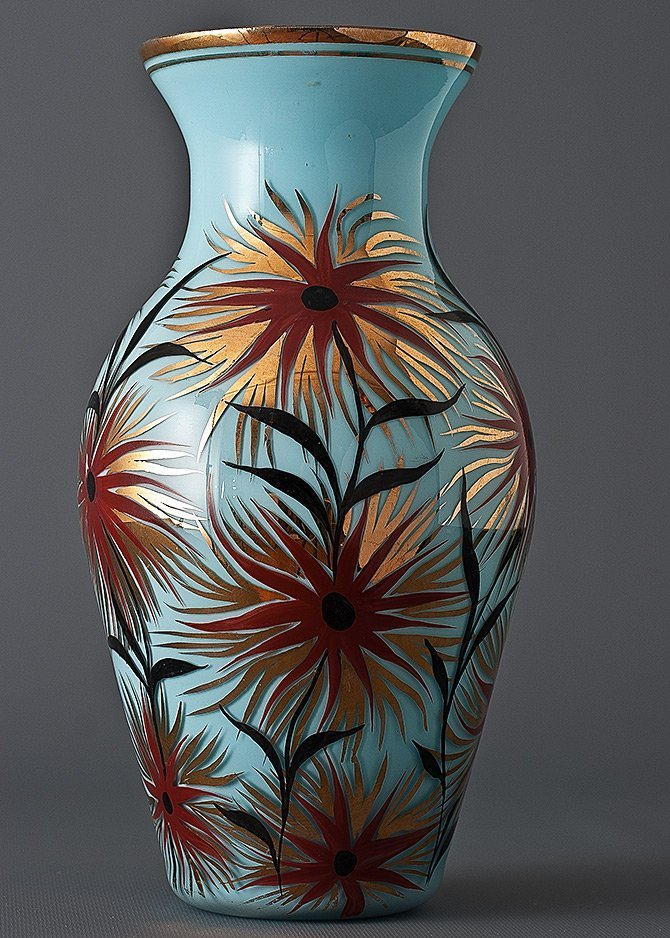 21: Two Glass Vases with Enamel Decoration