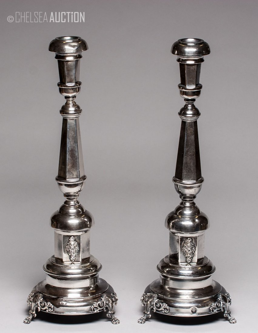 11: 19th C Russian Silver-Plated Candelabras (Judaica)
