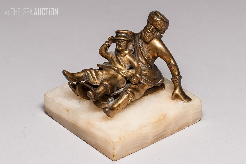 15: Antique Russian Bronze Figurine on Marble Base