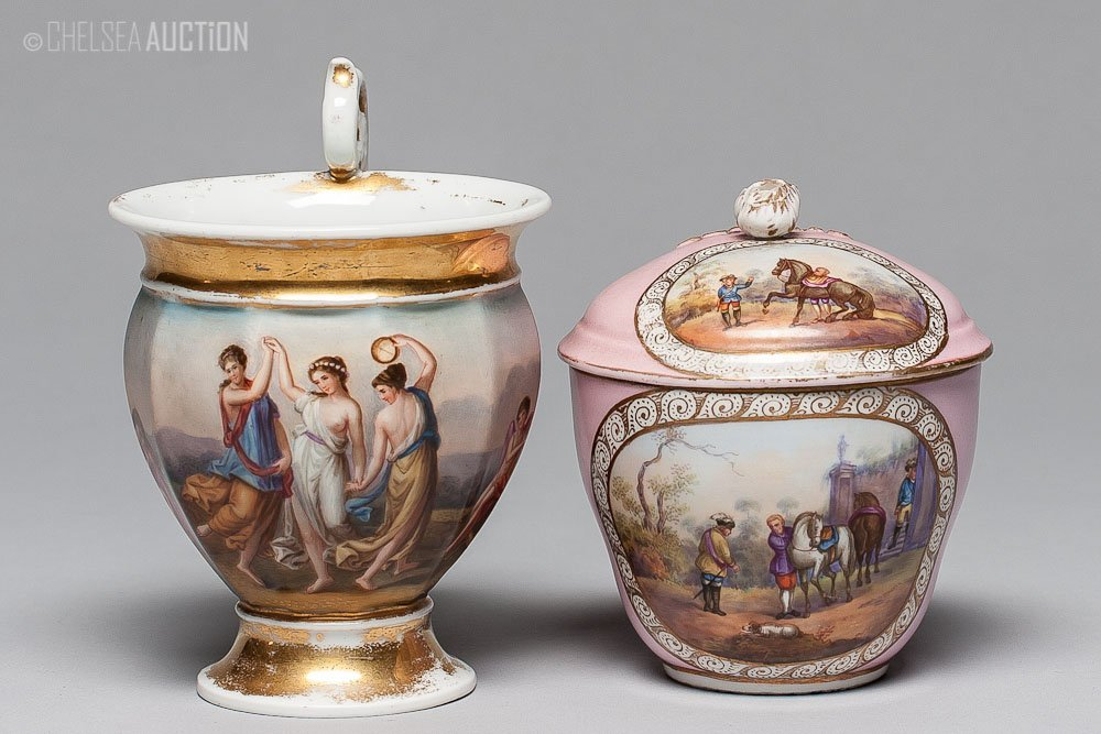 22: 19th C French Porcelain Hand-Painted Cups by Sevres