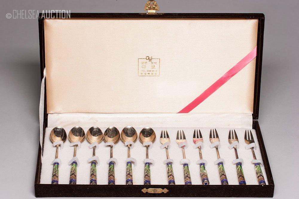 24: Old Korean Enamel & Silver Utensil Set 6.56 ozt