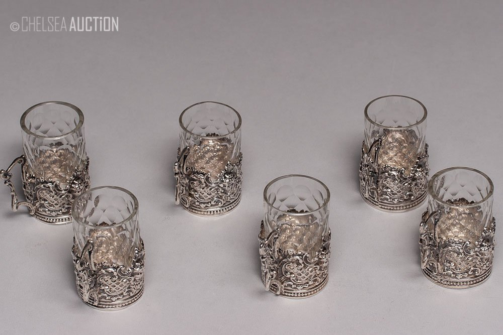 25: 17th C German Silver Cup Holder & Glass Liquor Cups - 2
