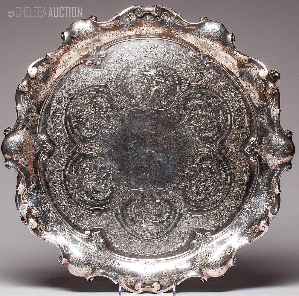 58: 19th C. English Victorian Silver Tray 101.92ozt