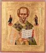 222: 19th C. Russian Icon: St. Nicholas Wonderworker