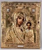 227 19th C Russian icon Kazan Mother of God