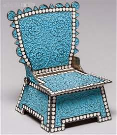 264: 19th C. Russian Blue Enamel Silver Chair