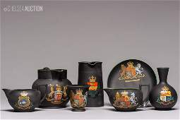 539: 1900's Wedgewood Black Porcelain Tea Set