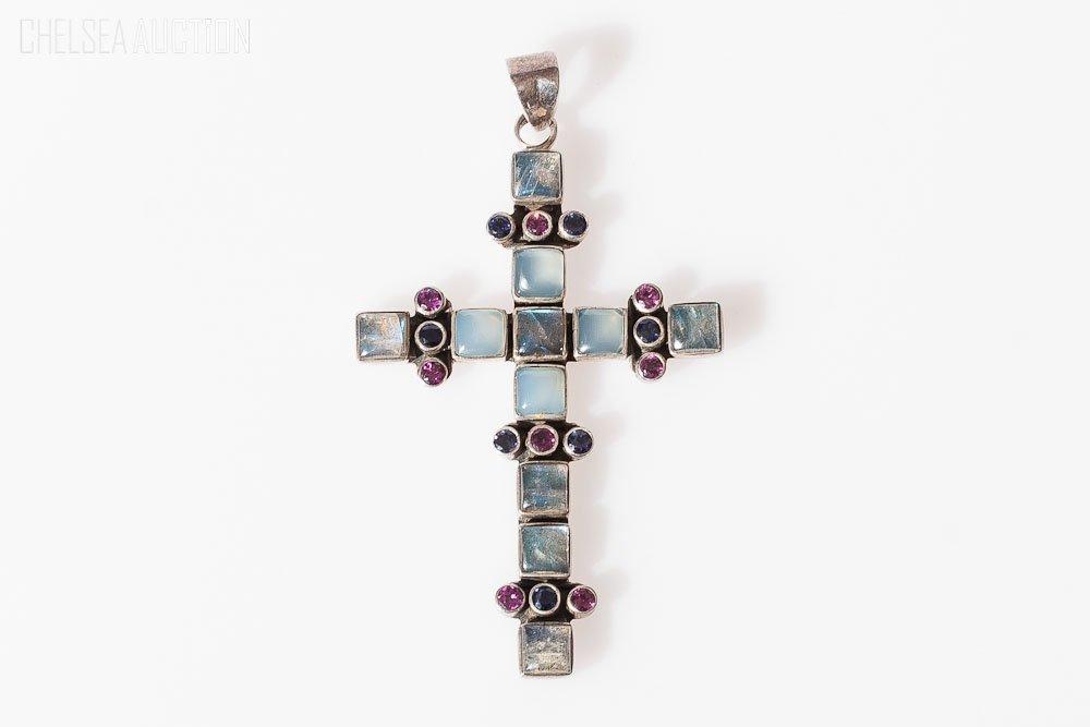 4: Silver Cross Pendant w/ Moonstones,Rubies, Sapphires