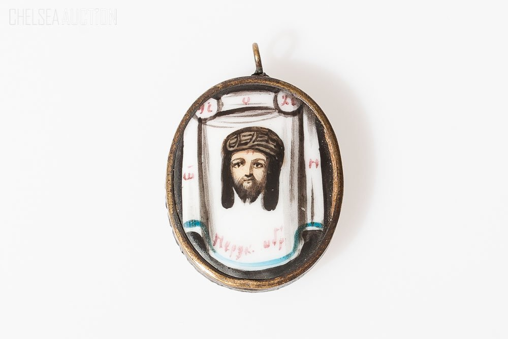 7: 19th C. Russian Icon Painting on Porcelain Pendant