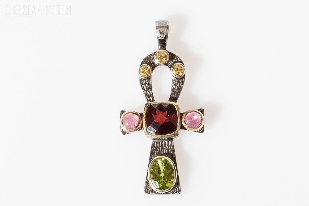 8: Silver Cross (925) Pendant w/ Natural Stones