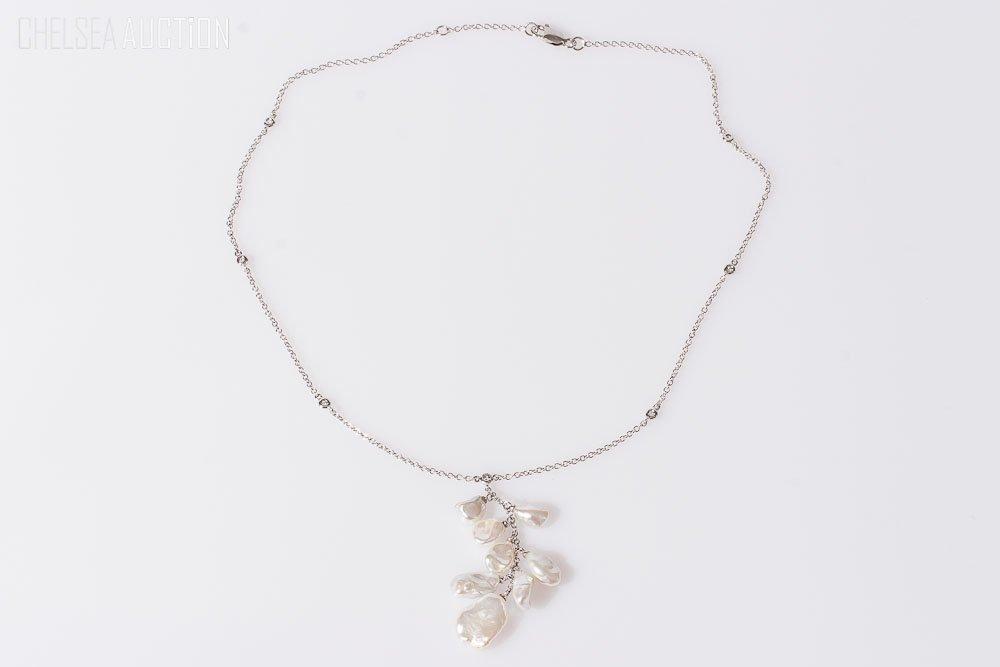 22: 14K White Gold Necklace w/ Pearls & Diamonds