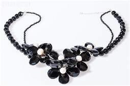 145: Black Onyx Flower Necklace w/ Pearls & 18K Clasp