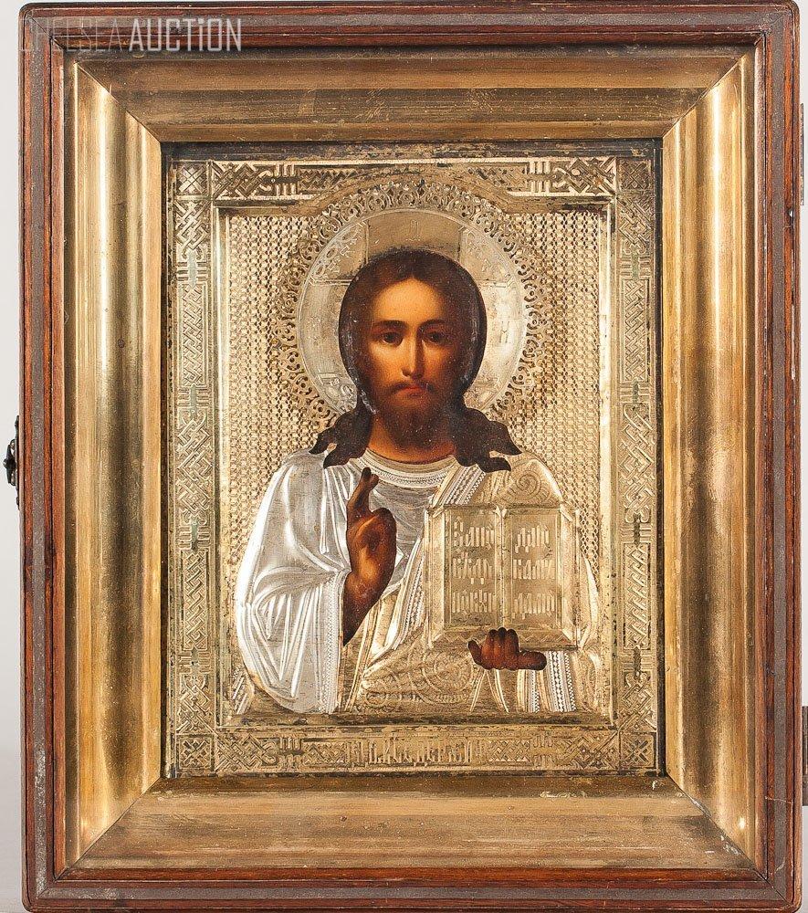 352: 19th C. Russian Icon: Jesus Christ w/ Silver Cover