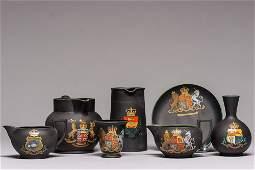 1900's Wedgewood Black Porcelain Tea Set