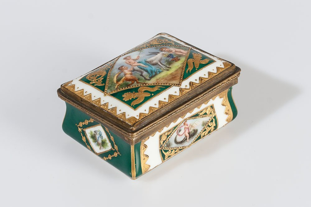 French Hand-Painted Porcelain Box by Sevres