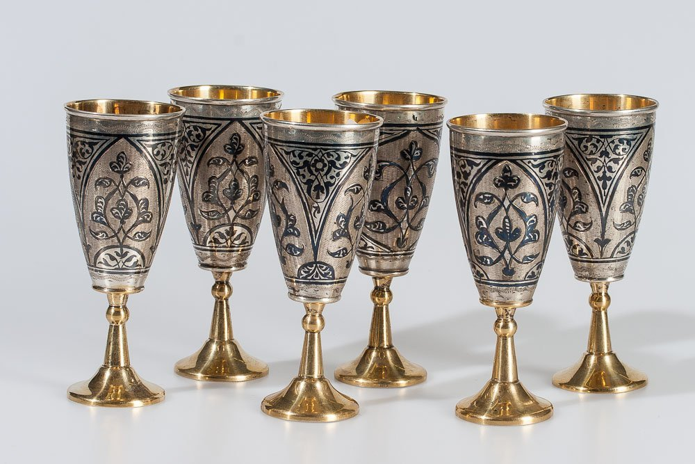 Old Russian Six Silver Cups 4.56 ozt