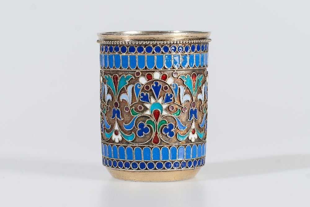 19th C. Russian Silver & Enamel Shot Glass