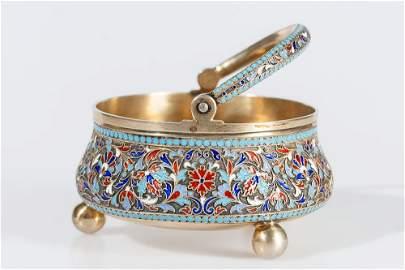 Russian Silver Enamel Sugar Bowl by Gustav Klingert