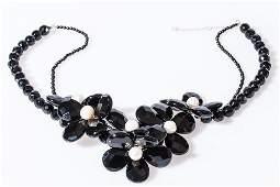 Black Onyx Flower Necklace w/ Pearls & 18K gold clasp