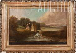 18th C. Old Masters, Oil on canvas Landscape