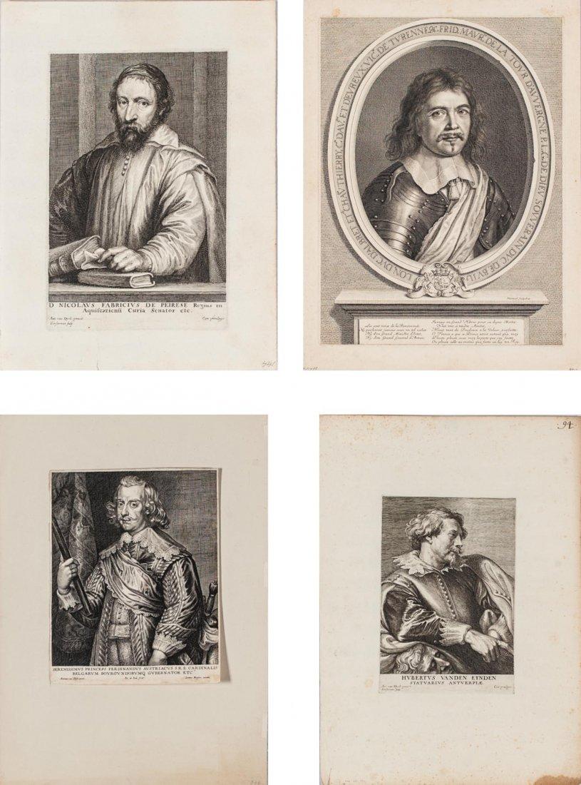 4 Flemish Portrait Engravings by Anthony van Dyck