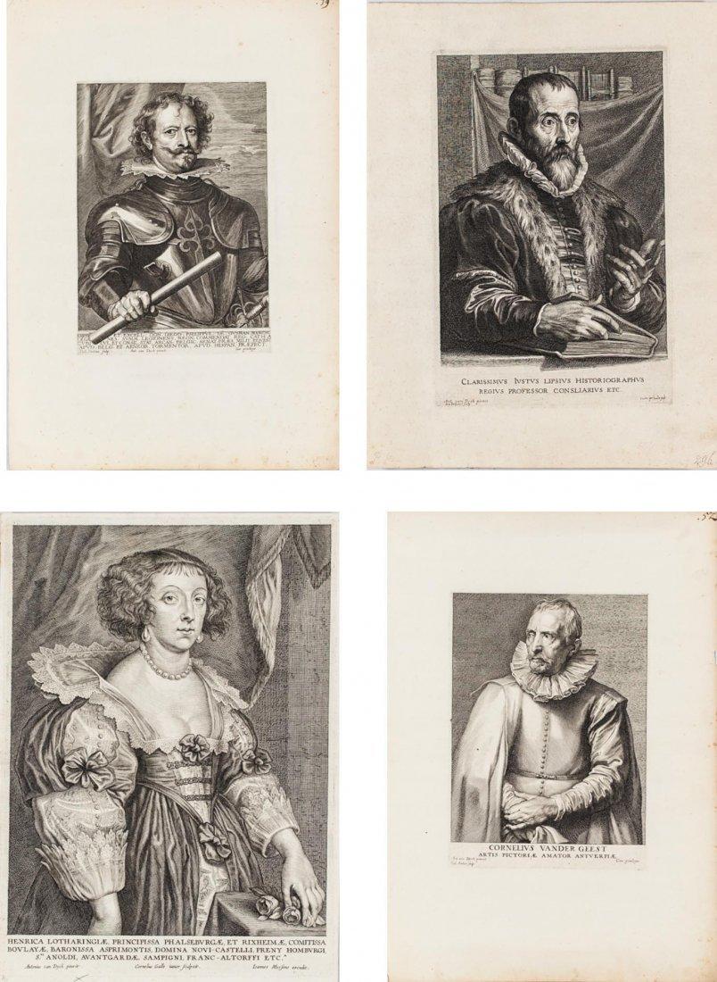 4 Flemish Portrait Engravings