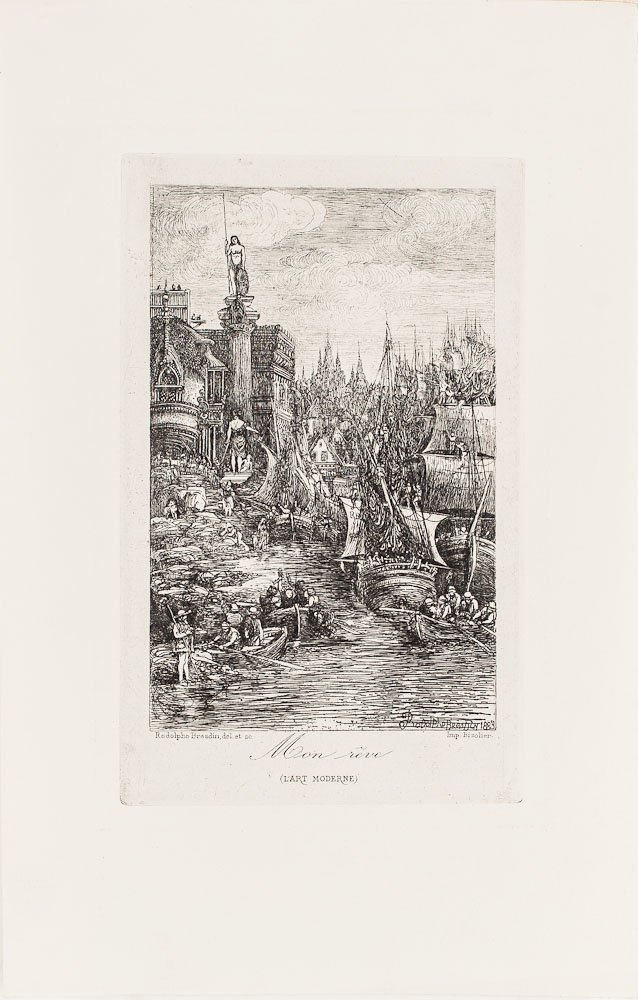 Etching by Rodolphe Bresdin (French, 1822-1885)