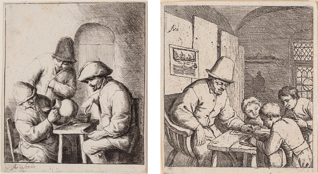 two etchings by Adriaen Jansz van Ostade