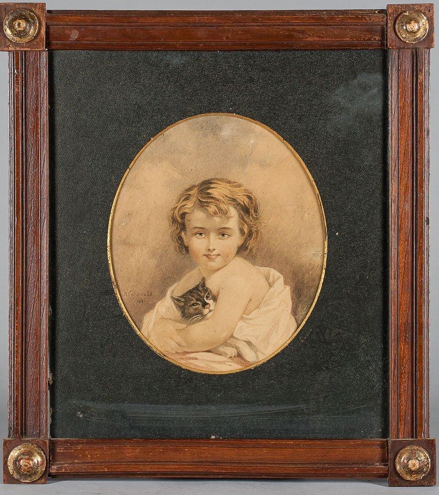 1847 Watercolr of Girl w/ Cat