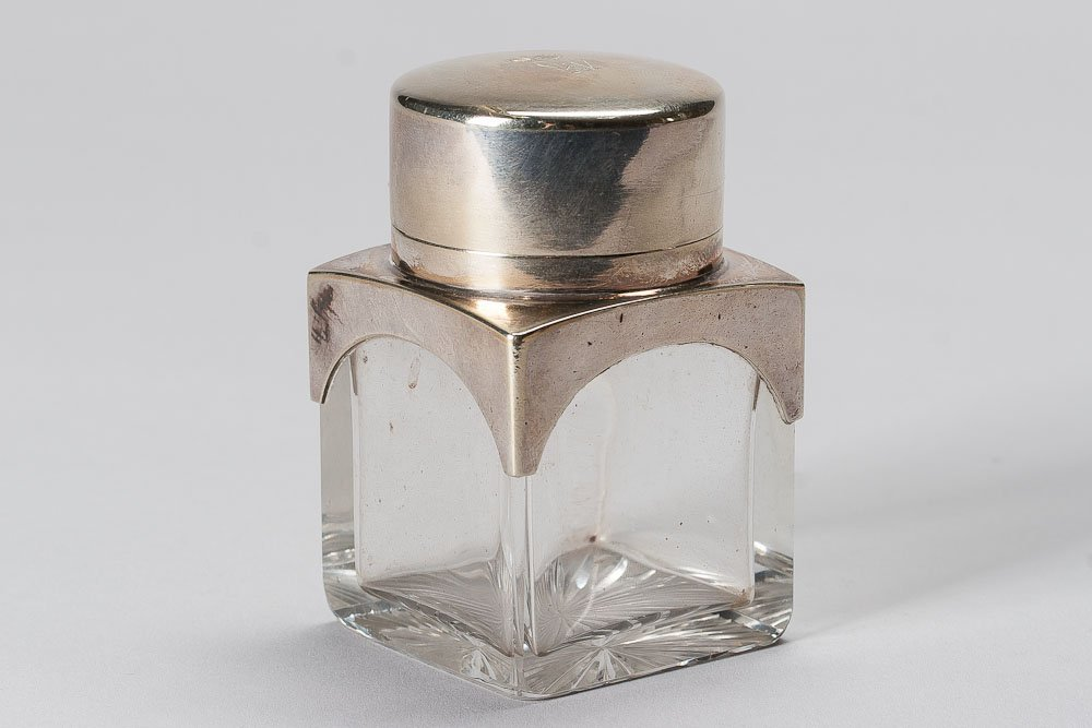 19th C.  Silver toped Glass Bottle