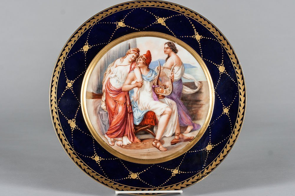 19th C. Porcelain Handpainted Plate by Royal Vienna