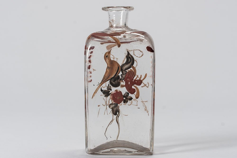 1770-1820 Clear Glass Hand-bown flask