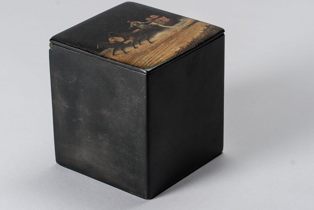 19th C. Russian Paper Mache lacquer Box